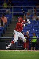 Altoona Curve second baseman Kevin Kramer (37) at bat during a game against the Binghamton Rumble Ponies on May 17, 2017 at NYSEG Stadium in Binghamton, New York.  Altoona defeated Binghamton 8-6.  (Mike Janes/Four Seam Images)