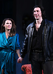 """Keri Russell and Adam Driver during the Broadway Opening Night Curtain Call for Landford Wilson's """"Burn This""""  at Hudson Theatre on April 15, 2019 in New York City."""