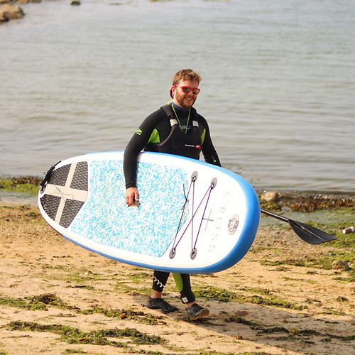 experienced paddleboarder, Viking Marine shop manager Dean Brien