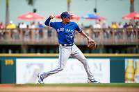 Toronto Blue Jays shortstop Ryan Goins (17) throws to first base during a Spring Training game against the Pittsburgh Pirates on March 3, 2016 at McKechnie Field in Bradenton, Florida.  Toronto defeated Pittsburgh 10-8.  (Mike Janes/Four Seam Images)