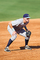 Wilmington Blue Rocks third baseman Jared Schlehuber (24) on defense against the Winston-Salem Dash at BB&T Ballpark on July 6, 2014 in Winston-Salem, North Carolina.  The Dash defeated the Blue Rocks 7-1.   (Brian Westerholt/Four Seam Images)