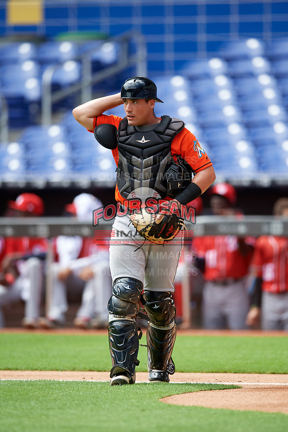 Miami Marlins catcher Nick Fortes (12) during a Florida Instructional League game against the Washington Nationals on September 26, 2018 at the Marlins Park in Miami, Florida.  (Mike Janes/Four Seam Images)