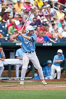North Carolina Tar Heels designated hitter Landon Lassiter #12 bats during Game 3 of the 2013 Men's College World Series between the North Carolina State Wolfpack and North Carolina Tar Heels at TD Ameritrade Park on June 16, 2013 in Omaha, Nebraska. The Wolfpack defeated the Tar Heels 8-1. (Brace Hemmelgarn/Four Seam Images)