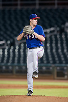 AZL Rangers relief pitcher Ryan Dease (19) delivers a pitch to the plate against the AZL Indians on August 26, 2017 at Goodyear Ball Park in Goodyear, Arizona. AZL Indians defeated the AZL Rangers 5-3. (Zachary Lucy/Four Seam Images)