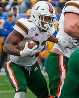 Miami Hurricanes running back Cam'Ron Harris. The Miami Hurricanes football team defeated the Pitt Panthers 16-12 in a game at Heinz Field, Pittsburgh, Pennsylvania on October 26, 2019.