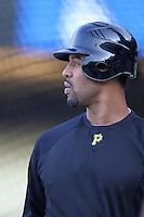 Pittsburgh Pirates first baseman Derrek Lee #25 before a game against the Los Angeles Dodgers at Dodger Stadium on September 17, 2011 in Los Angeles,California. Los Angeles defeated Pittsburgh 6-1.(Larry Goren/Four Seam Images)