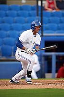 Dunedin Blue Jays outfielder Derrick Loveless (14) at bat during the first game of a doubleheader against the Palm Beach Cardinals on July 31, 2015 at Florida Auto Exchange Stadium in Dunedin, Florida.  Dunedin defeated Palm Beach 7-0.  (Mike Janes/Four Seam Images)