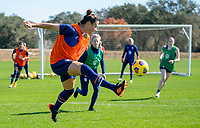 ORLANDO, FL - JANUARY 20: Ali Krieger #11 of the USWNT clears the ball during a training session at the practice fields on January 20, 2021 in Orlando, Florida.