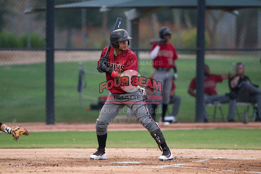 AZL Diamondbacks catcher Douglas Lanza (26) at bat during an Arizona League game against the AZL White Sox at Camelback Ranch on July 12, 2018 in Glendale, Arizona. The AZL Diamondbacks defeated the AZL White Sox 5-1. (Zachary Lucy/Four Seam Images)