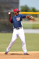 Washington Nationals shortstop Adrian Sanchez #16 during an Instructional League game against the national team from Italy at Carl Barger Training Complex on September 28, 2011 in Viera, Florida.  (Mike Janes/Four Seam Images)