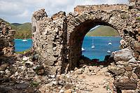 Ruins and views of Leinster Bay<br /> along the Johnny Horn Trail<br /> Virgin Islands National Park<br /> St. John<br /> U.S. Virgin Islands