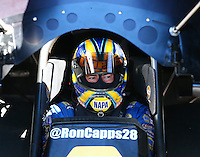 Feb 3, 2016; Chandler, AZ, USA; NHRA funny car driver Ron Capps during pre season testing at Wild Horse Pass Motorsports Park. Mandatory Credit: Mark J. Rebilas-USA TODAY Sports