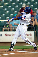 Round Rock Express outfielder Julio Borbon #20 swings in a game against the Memphis Redbirds at the Dell Diamond on July 7, 2011in Round Rock, Texas.  Round Rock defeated Memphis 6-4.  (Andrew Woolley / Four Seam Images)