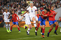 JACKSONVILLE, FL - NOVEMBER 10: Julie Ertz #8 of the United States battles Lixy Rodriguez #12 of Costa Rica for a ball during a game between Costa Rica and USWNT at TIAA Bank Field on November 10, 2019 in Jacksonville, Florida.