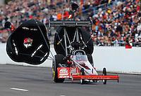 Feb. 20, 2010; Chandler, AZ, USA; NHRA top fuel dragster driver David Grubnic during qualifying for the Arizona Nationals at Firebird International Raceway. Mandatory Credit: Mark J. Rebilas-