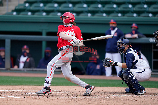 Third baseman Nick Erwin (5) of the Ohio State Buckeyes bats in a game against the Illinois Fighting Illini on Friday, March 5, 2021, at Fluor Field at the West End in Greenville, South Carolina. The Illinois catcher is Ryan Hampe. (Tom Priddy/Four Seam Images)