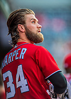 29 July 2017: Washington Nationals right fielder Bryce Harper looks out from the dugout prior to a game against the Colorado Rockies at Nationals Park in Washington, DC. The Rockies defeated the Nationals 4-2 in the first game of their 3-game weekend series. Mandatory Credit: Ed Wolfstein Photo *** RAW (NEF) Image File Available ***