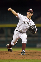 Relief pitcher Denny Clement #21 of the Texas A&M Aggies in action versus the Rice Owls in the 2009 Houston College Classic at Minute Maid Park February 28, 2009 in Houston, TX.  The Owls defeated the Aggies 2-0. (Photo by Brian Westerholt / Four Seam Images)