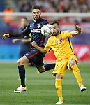 Atletico de Madrid's Yannick Carrasco (l) and FC Barcelona's Jordi Alba during Champions League 2015/2016 Quarter-Finals 2nd leg match. April 13,2016. (ALTERPHOTOS/Acero)