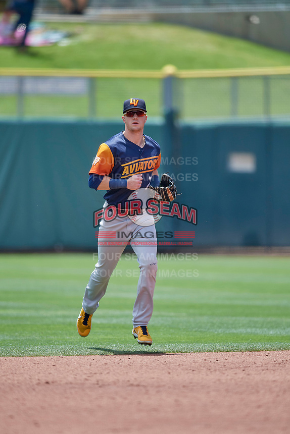 Greg Deichmann (7) of the Las Vegas Aviators comes off the field against the Salt Lake Bees at Smith's Ballpark on June 27, 2021 in Salt Lake City, Utah. The Aviators defeated the Bees 5-3. (Stephen Smith/Four Seam Images)