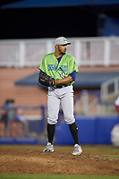 Lynchburg Hillcats relief pitcher Dalbert Siri (45) set to deliver a pitch during a game against the Salem Red Sox on May 10, 2018 at Haley Toyota Field in Salem, Virginia.  Lynchburg defeated Salem 11-5.  (Mike Janes/Four Seam Images)