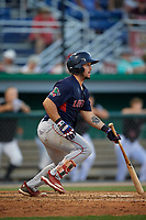 Lowell Spinners Elih Marrero (5) bats during a NY-Penn League game against the Batavia Muckdogs on July 10, 2019 at Dwyer Stadium in Batavia, New York.  Batavia defeated Lowell 8-6.  (Mike Janes/Four Seam Images)