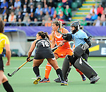 The Hague, Netherlands, June 05: Sally Rutherfod #8 of New Zealand in action during the field hockey group match (Women - Group A) between New Zealand and The Netherlands on June 5, 2014 during the World Cup 2014 at Kyocera Stadium in The Hague, Netherlands. Final score 0-2 (0-2) (Photo by Dirk Markgraf / www.265-images.com) *** Local caption ***