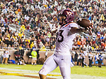 Virginia Tech wide receiver Eric Kumah celebrates a 42 yard reception and touchdown against Florida State in the 2nd half of an NCAA college football game in Tallahassee, Fla., Monday, Sept. 3, 2018. Virginia Tech defeated Florida State 24-3. (AP Photo/Mark Wallheiser)
