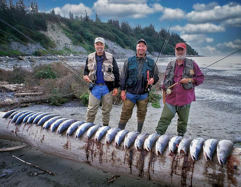 Fly Fishermen with catch of Sockeye Salmon. Kalgin Island, Alaska