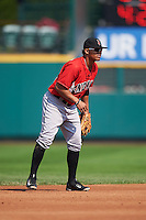 Indianapolis Indians shortstop Gustavo Nunez (12) during a game against the Rochester Red Wings on June 10, 2015 at Frontier Field in Rochester, New York.  Indianapolis defeated Rochester 5-3.  (Mike Janes/Four Seam Images)