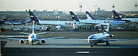 Fed Ex and other airplanes at Newark Airport. Newark, New Jersey.