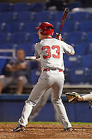 St. John's Red Storm first baseman Eric Peterson during a game against the Michigan State Spartans at the Big Ten/Big East Challenge at Florida Auto Exchange Stadium on February 17, 2012 in Dunedin, Florida.  (Mike Janes/Four Seam Images)