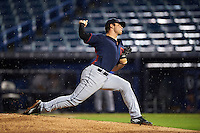Pitcher Bryse Wilson (16) of Orange High School in Hillsborough, North Carolina playing for the Cleveland Indians scout team during the East Coast Pro Showcase on July 28, 2015 at George M. Steinbrenner Field in Tampa, Florida.  (Mike Janes/Four Seam Images)