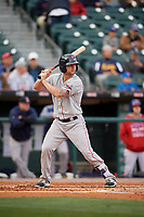 Pawtucket Red Sox first baseman Sam Travis (15) bats during a game against the Buffalo Bisons on May 19, 2017 at Coca-Cola Field in Buffalo, New York.  Buffalo defeated Pawtucket 7-5 in thirteen innings.  (Mike Janes/Four Seam Images)