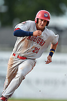 Auburn Doubledays outfielder Clay Williamson (23) running the bases during a game against the Batavia Muckdogs on August 31, 2014 at Dwyer Stadium in Batavia, New York.  Batavia defeated Auburn 7-6.  (Mike Janes/Four Seam Images)