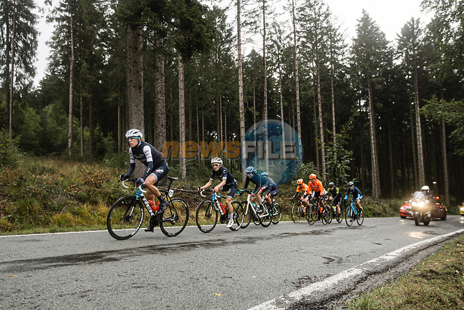 The lead group with Trek-Segafredo Women on the front during a wet Liege-Bastogne-Liege Femmes 2020, running 135km from Liege to Liege, Belgium. 4th October 2020.<br /> Picture: ASO/Thomas Maheux | Cyclefile<br /> All photos usage must carry mandatory copyright credit (© Cyclefile | ASO/Thomas Maheux)