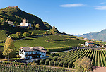 Italy, Alto Adige - Trentino (South Tyrol), Community Appiano sulla Strada del Vino, Castle Route: Corba Castle, Boymont Castle and Appiano Castle above Missiano, at background tower Kreideturm and the mountains of Texel Group (Gruppo Tessa) | Italien, Suedtirol, bei Bozen, Gemeinde Eppan, Burgenstrasse: Schloss Korb, Schloss Boymont und Schloss Hocheppan oberhalb von Missian, im Hintergrund der Kreideturm und die Berge der Texelgruppe im Meraner Land