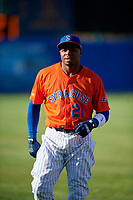 Syracuse Mets Rajai Davis (21) during warmups before an International League game against the Charlotte Knights on June 11, 2019 at NBT Bank Stadium in Syracuse, New York.  Syracuse defeated Charlotte 15-8.  (Mike Janes/Four Seam Images)