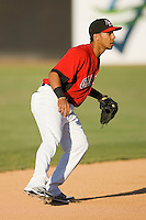 Shortstop Leury Garcia #3 of the Hickory Crawdads on defense against the Greenville Drive at  L.P. Frans Stadium May 8, 2010, in Hickory, North Carolina.  Photo by Brian Westerholt / Four Seam Images