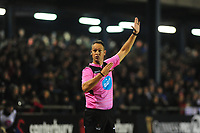Referee Quinton Immellman in action during the Guinness Pro14 Round 15 match between the Ospreys and Ulster Rugby at Morganstone Brewery Field in Bridgend, Wales, UK. Friday 15 February 2019