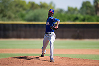Texas Rangers pitcher Tyree Thompson (50) delivers a pitch to the plate during an Instructional League game against the San Diego Padres on September 20, 2017 at Peoria Sports Complex in Peoria, Arizona. (Zachary Lucy/Four Seam Images)