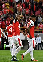 BOGOTA - COLOMBIA - 01 - 03 - 2018: Wilson Morelo (Izq.), jugador de Independiente Santa Fe celebra el gol anotado a Emelec (ECU), durante partido entre Independiente Santa Fe (COL) y Emelec (ECU), de la fase de grupos, grupo 4, fecha 1 de la Copa Conmebol Libertadores 2018, jugado en el estadio Nemesio Camacho El Campin de la ciudad de Bogota. / Wilson Morelo (L), player of Independiente Santa Fe celebrates a scored goal to Emelec (ECU), during a match between Independiente Santa Fe (COL) and Emelec (ECU), of the group stage, group 4, 1st date for the Conmebol Copa Libertadores 2018 at the Nemesio Camacho El Campin Stadium in Bogota city. Photo: VizzorImage  / Luis Ramirez / Staff.