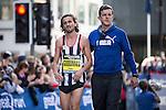 © Joel Goodman - 07973 332324 . 22/05/2016 . Manchester , UK . First British men's runner to finish , RICHARD GOODMAN . The Great Manchester Run in Manchester City Centre . Photo credit : Joel Goodman