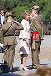 01.10.2012. The Spanish Royal Family, King Juan Carlos, Queen Sofia, Prince Felipe, Princess Letizia and Princess Elena attend the imposition of collective Distinguished Cross San Fernando Al Banner Armored Cavalry Regiment ´Alcántara´ No. 10 in the Royal Palace in Madrid, Spain. In the image King Juan Carlos and Queen Sofia of Spain (Alterphotos/Marta Gonzalez)