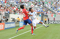 Honduras Javier Portillo (19) heads the ball against Costa Rica Bryan Ruiz (10)     Honduras defeated Costa Rica in Penalty Kick 4-2 in the quaterfinals for the 2011 CONCACAF Gold Cup , at the New Meadowlands Stadium, Saturday June 18, 2011.