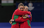 Glasgow 2014 Commonwealth Games<br /> <br /> Team mates Laura Halford and Francesca Jones share an embrace after winning silver and bronze in the women's Individual Rhythmic Gymnastics Apparatus Final.<br /> <br /> 25.07.14<br /> ©Steve Pope-SPORTINGWALES