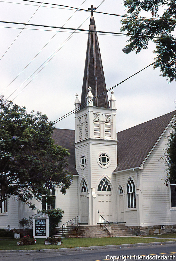 "Carpinteria Valley Baptist Church (L-shaped), 1892; originally, First Methodist of Santa Maria. ""A delightful small Gothic Revival church with excellent Eastlake leaded stained windows."" Photo '85."