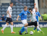 Raith Rovers v St Johnstone...12.07.14  Pre-Season Friendly<br /> Frazer Wright is tackled by Grant Anderson<br /> Picture by Graeme Hart.<br /> Copyright Perthshire Picture Agency<br /> Tel: 01738 623350  Mobile: 07990 594431