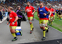 Photo: Richard Lane/Richard Lane Photography. Wasps v Leicester Tigers. Aviva Premiership. Semi Final. 20/05/2017. Tigers after warm up. Get Busy Living.