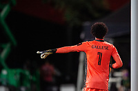 LAKE BUENA VISTA, FL - AUGUST 06: Pedro Gallese #1 of Orlando City SC gives direction during a game between Orlando City SC and Minnesota United FC at ESPN Wide World of Sports on August 06, 2020 in Lake Buena Vista, Florida.